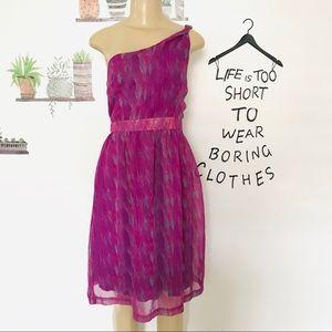 Jonathan Martin purple teal one shoulder dress 6
